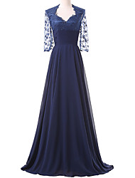 Formal Evening Dress - Elegant A-line Square Sweep / Brush Train Chiffon Lace with Appliques Lace Pleats