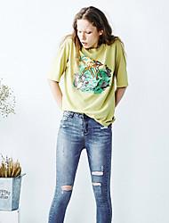 de animal print cuello redondo manga corta de algodón verde delgada mujer liangsanshi / diario de la calle elegante del verano camiseta ocasional,