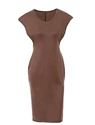 Women's  Open Sides Faux Leather Midi Dress