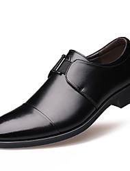 Masculino-Oxfords-Conforto Sapatos formais-Rasteiro-Preto Marrom-Courino-Casual