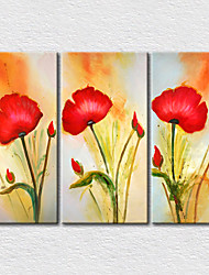 Canvas Set / Unframed Canvas Print Floral/Three Panels Canvas Vertical Print Wall Decor For Home Decoration