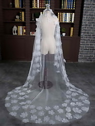 Wedding Veil One-tier Chapel Veils Cut Edge Tulle / Lace Ivory Flowers
