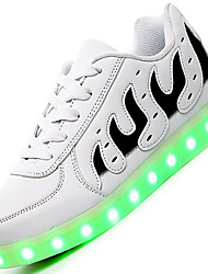 Big Size LED Shoes Women's Sneakers Comfort Synthetic Casual Flat Heel Lace-up Black / White Others