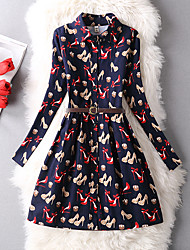 Women's Casual/Daily Simple A Line Dress,Floral V Neck Above Knee Long Sleeve Polyester Spring High Rise Inelastic Thin