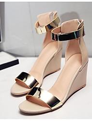 Sandalen Sommer Sandalen Leder Außenkeilabsatz andere Frauen schwarz / Mandel andere