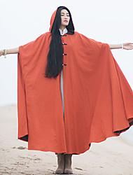 Cape / Capes Aux femmes,Couleur Pleine Sortie Chinoiserie Automne ½ Manches Capuche Orange Lin Opaque