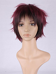 New COS Wig Male Wine Red Gradient Character Turn Up Short Wig 6 Inch