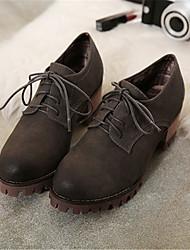 Серый-Женский-На каждый день-Полиуретан-На толстом каблуке-На каблуках-Обувь на каблуках