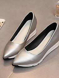 Damen-High Heels-Lässig-Gummi-Flacher AbsatzSchwarz