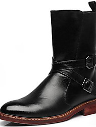 Men's Boots Spring/Summer/Fall/Winter Fashion Boots/Combat Boots Nappa Leather Party & Evening Casual Black/Red