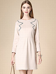 DOF Women's Work Simple Sheath DressSolid Round Neck Knee-length / Above Knee Long Sleeve Pink Cotton Fall High