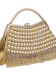 Women Bags All Seasons Polyester Evening Bag with Rhinestone Pearl Detailing for Wedding Event/Party Formal Blue Gold Black Silver Red