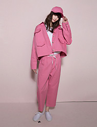 sólidas chinos-de-rosa das mulheres neato pantssimple todas as estações