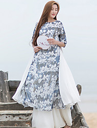 Ramie Cotton Women's Casual/Daily Chinoiserie Loose DressFloral Round Neck Knee-length  Sleeve Blue