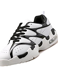 Men's Athletic Shoes Spring / Fall Round Toe PU Athletic Flat Heel Lace-up Black / White / Black and Red Basketball