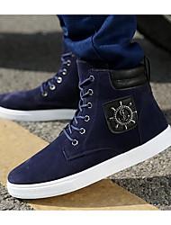 Femme-Extérieure-Noir / Bleu-Talon Plat-Bout Fermé-Sneakers-Polyuréthane