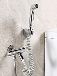 Contemporary Centerset Pullout Spray with  Brass Valve Two Handles One Hole for  Chrome  Bidet Faucet