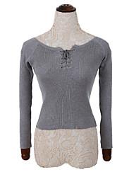 Damen Kurz Pullover-Lässig/Alltäglich Einfach Solide Rot / Weiß / Beige / Schwarz / Grau Rundhalsausschnitt Langarm Baumwolle Herbst