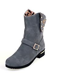 Women's  Fashion Boots / Round Toe Fleece Dress / Casual Low Heel Rivet / Zipper Black / Brown / GrayWalking