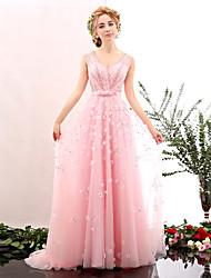 Formal Evening Dress A-line V-neck Floor-length Tulle / Charmeuse with Beading / Flower(s) / Sash / Ribbon / Sequins