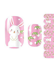 Fashion Lovely Pink Rabbit Radish Nail Decal Art Sticker Gel Polish Manicure Beautiful Girl