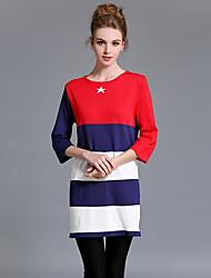 Ample Robe Femme Sortie Vintage,Rayé Col Arrondi Mini Manches ¾ Rouge Coton Automne Taille Normale Elastique Moyen