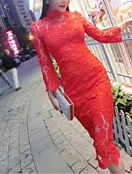 Простое Оболочка Платье Однотонный,Воротник-стойка Средней длины Длинный рукав Красный Полиэстер Лето Со стандартной талией