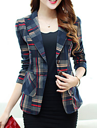 Women's Spring Blazer,Geometric Notch Lapel Long Sleeve Red / Brown Polyester Medium