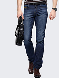Autumn Men's  Plus Size Blue Stretch Jeans Straight Business Casual Denim Long Pants