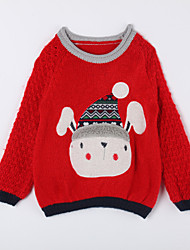Girl's Casual/Daily Print Sweater & CardiganCotton Fall Red