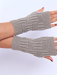 luvas de cor sólida de inverno de lã de tricô das mulheres