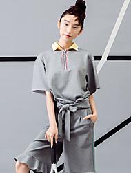 room404 das mulheres casual / diária simples verão polosolid colarinho da camisa comprimento da manga cinza de algodão / nylon / spandex opaca