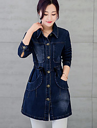 Women's Casual/Daily Simple Fall Denim JacketsLetter Shirt Collar Long Sleeve Blue Others Thick Cowboy