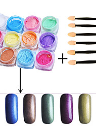 12PCS Chrome Mirror Powder Gold Pigment Ultrafine Powder Dust Nail Glitters Nail Sequins And 6PCS Sponge Stick