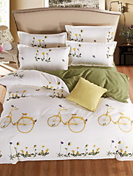 Bedtoppings Comforter Duvet Quilt Cover 4pcs Set Queen Size Flat Sheet Pillowcase Bicycle Pattern Prints Microfiber