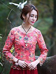 Our Story  Going out Vintage Spring / Fall SetEmbroidered Round Neck Long Sleeve Pink Polyester Medium