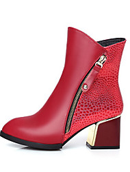 Women's Assorted Color Kitten Heels Zipper Pointed Closed Toe Boots