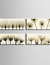 E-HOME® Stretched Canvas Art Transparent Coloured Flowers Decoration Painting  Set Of 4