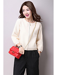 Women's Casual/Daily Simple Regular PulloverSolid Multi-color Round Neck Long Sleeve Others Fall