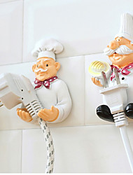 New Dimensional Cartoon Chef Wall Hook Decorative Power Cable Plug Housing Hanger Hook Creative   Adhesive Hook