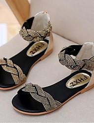 Girl's Sandals Summer Sandals Dress Flat Heel Sparkling Glitter Silver / Gold Walking