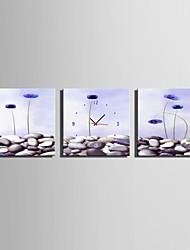 Modern/Zeitgenössisch Blumen/Botanik Wanduhr,Quadratisch Leinwand 25 x 25cm(10inchx10inch)x3pcs Drinnen Uhr