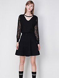 j&simple, cardiganpatchwork régulière rouge / noir / gris col V sans manches polyester chute d femmes moyen de micro-élastique