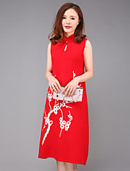 YANG X-M Women's Going out Chinoiserie Loose DressEmbroidered Stand Knee-length Sleeveless