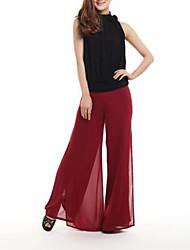 De las mujeres Pantalones Perneras anchas-Casual / Playa Microelástico-Poliéster