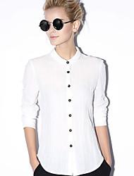 novo antes de trabalho das mulheres simples primavera / outono shirtsolid pé de manga longa azul / branco de algodão / linho opaca