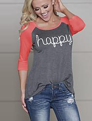 Tee-shirt Aux femmes,Couleur Pleine Décontracté / Quotidien / Sortie simple / Chic de Rue Toutes les Saisons Manches Longues Col Arrondi