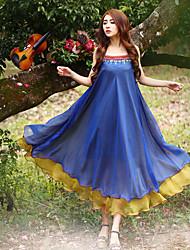 Ample Robe Femme Sortie Chinoiserie,Imprimé A Bretelles Midi Sans Manches Bleu Polyester Eté Taille Haute Non Elastique Moyen