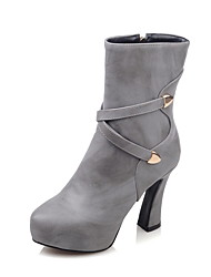 Women's Boots Spring / Fall / Winter Fashion Boots / Combat Boots Leatherette  / Casual Chunky Heel Rivet / ZipperBlack