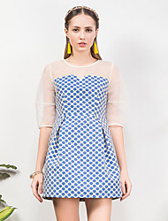 I'HAPPY Women's Going out Vintage Sheath DressPolka Dot Round Neck Above Knee  Length Sleeve Blue Cotton / Polyester